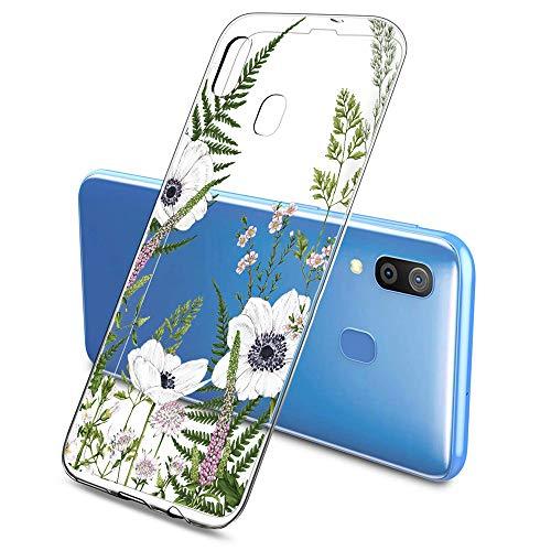 Suhctup Coque Compatible pour Samsung Galaxy A20E,Etui en Silicone Transparent TPU Souple Housse Ultra Fin Anti Choc Protection Bumper Case avec Fleur Dessin pour Samsung Galaxy A20E(Fleur 1)