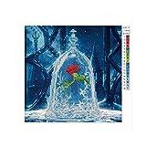 Rose and Bell 6102 Pintura artística Bricolaje Hecho a Mano Pintura de Diamante Punto de Cruz (Colorida Rosa y Campana 6102)