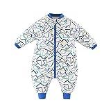 Baby Schlafsack Strampler Overall Jungen Mädchen Baumwolle Abnehmbare Ärmel Reißverschluss Beine Warmer Schlafanzug mit Füßen Kinder 0-1.5 Jahre,Blaue Linien(3.5Tog)