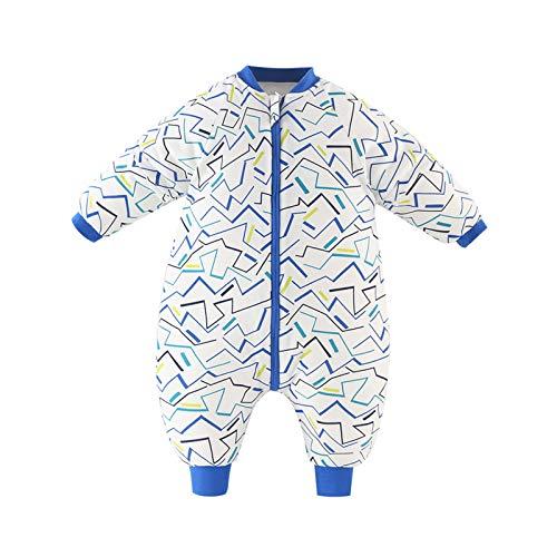 Baby Schlafsack Strampler Overall Jungen Mädchen Baumwolle Abnehmbare Ärmel Reißverschluss Beine Warmer Schlafanzug mit Füßen Kinder 0-1.5 Jahre,Blaue Linien