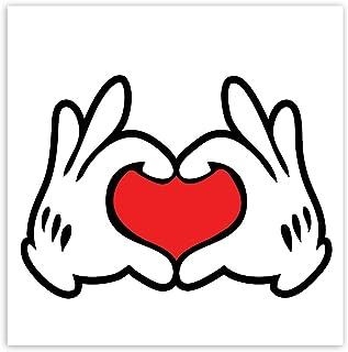 Biomar Labs® 1 x Vinyl Aufkleber Sticker Mouse Maus Hands Heart Herz Hände Bumper Autoaufkleber Auto Motorrad Fenster Tür Laptop Fahrrad Tuning B 250