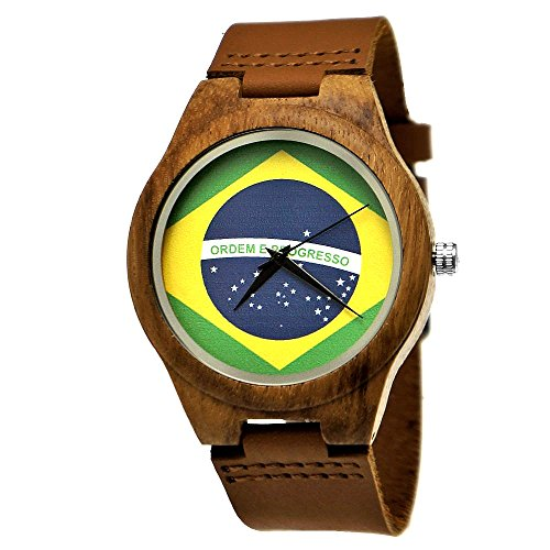 Holzwerk Germany Orologio da polso realizzato a mano, da uomo/donna, motivo bandiera del Brasile, legno naturale, ecologico, cinturino in pelle, sistema analogico, Classic Quartz, marrone