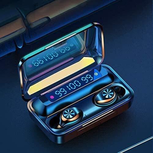 Yangmanini Bluetooth 5.0 Auriculares Auriculares Inalámbricos con Micrófono Auriculares Deportes Impermeable 2200mAh Carga De La Caja For El iPhone Y Android Negro