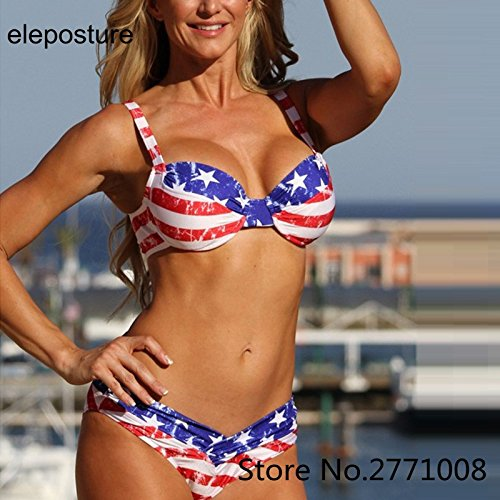 Push Up Bikini rayé 2018 Femmes Sexy Bikini Maillot de Bain Star Set Maillot de Bain Bikini Femme Maillots d'été à Rayures,XL,S