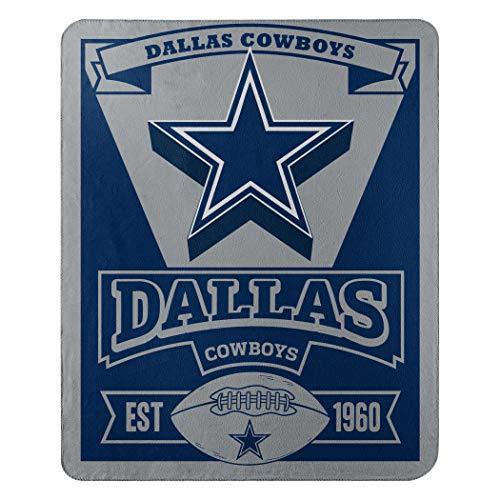 Officially Licensed NFL Dallas Cowboys 'Marque' Printed Fleece Throw Blanket, 50' x 60', Multi Color