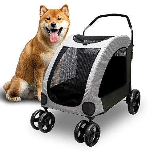 ペットカート 大型犬 中型犬 4輪 耐荷重60kg ペットカート 多頭 大型犬の介護用 犬用 バギー お出かけ 通気 前も後ろも網窓 キャリーカート 犬 老犬 ペットバギー (グレー)
