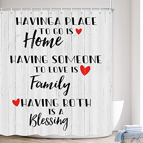 Family Shower Curtain, Inspirational Quotes Red Heart On Rustic Cabin Gray Wooden Bath Curtain, Farmhouse Home Decor Polyester Fabric Wood Shower Curtains Sets, Hooks Included, (69X70In) Grey Black
