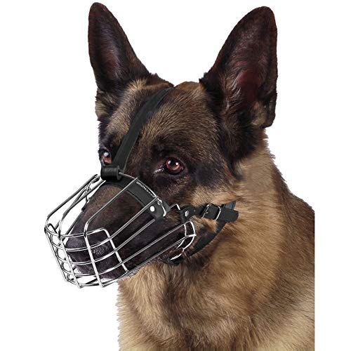 BRONZEDOG Dog Muzzle German Shepherd Wire Basket Metal Mask Leather Adjustable Medium Large Pets (L)