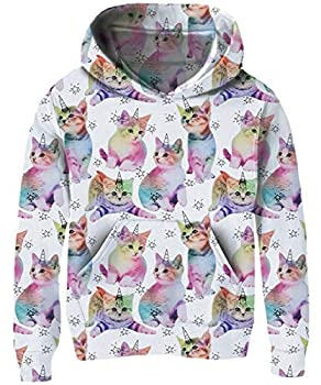 Cat Girls Hoodies 9T Kids Novelty Blue and Pink Kitten Hooded for Child Size 10-12 3D Print Purple Yellow Green Unicorn Tracksuit 11 Years Teens Trendy Long Sleeve Tracksuit Juniors Sports Sweater