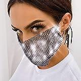 Yienate Máscara de malla transparente brillante con diamantes de imitación, para Halloween, discoteca, decoración de moda, joyería para mujeres y niñas (negro)