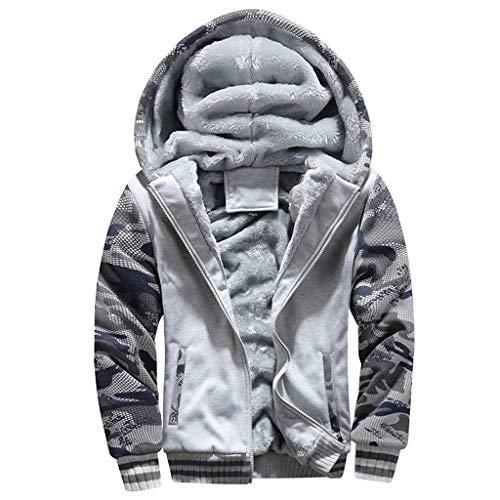 Toimothcn Mens Faux Fur Lined Coat Winter Warm Fleece Hood Zipper Sweatshirt Jacket Outwear (Gray,M)
