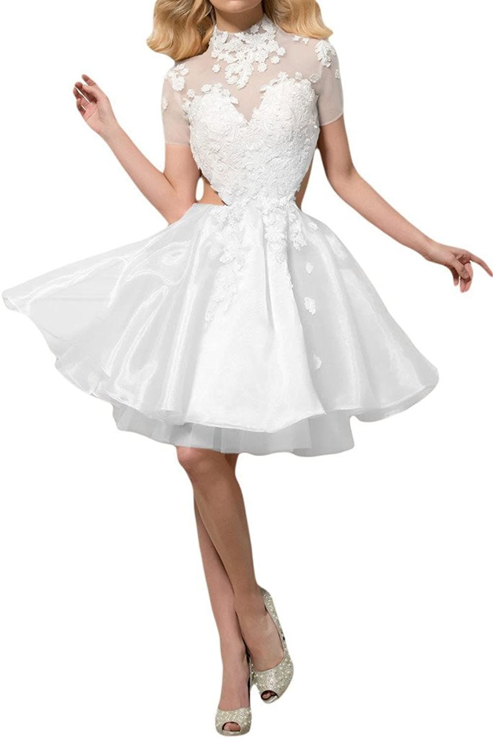 Angel Bride Cute Layers Little White Dresses HeartShaped Lace Prom Dress