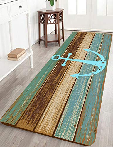 Bathroom Rugs, Kitchen Rug Non-Slip Soft Absorbent Bath Mats with Nautical Anchor Flannel for Bathroom Kitchen and Hallway 24 inches X 71 inches Turquoise/Brown