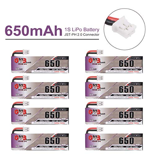 Gaoneng 650mAh 1S LiPo Battery 3.8V HV 60C with JST-PH 2.0 PowerWhoop mCPX Connector for Mobula 7 Inductrix FPV Plus 75mm Frame Kit Micro FPV Drone 8PCS