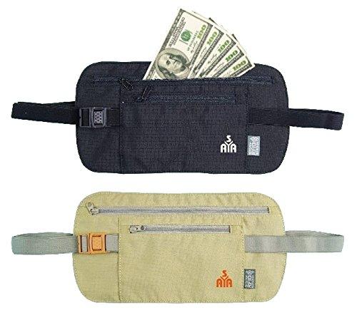 YISAMA platte heuptas, riemtas, reizen, RFID portemonnee voor paspoorten en geld, Moneybelt, Beltbag, borsttas, crème en zwart. (veelkleurig) - YSM016172X