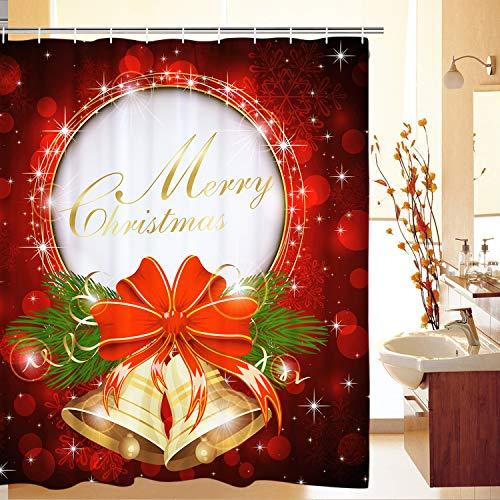 Alishomtll Weihnachten Duschvorhang, Antischimmel Duschvorhänge Textil Wasserdicht Shower Curtains Badewanne Waschbar mit 12 Haken, 175x178 cm, Polyester (Rot)