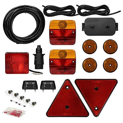 ECD Germany Anhängerbeleuchtung Set 23-teilig 7-poliger Stecker 5m Kabel - inkl. Glühbirnen und Verteilerdose - mit E-Prüfzeichen - Rückleuchten Set für PKW Anhänger Beleuchtungsset Rücklicht Leuchten