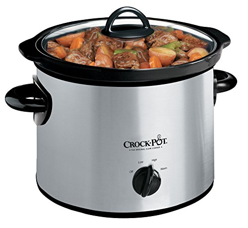 Crock-Pot 3-Quart Round Manual Slow Cooker, Stainless Steel and Black - SCR300-SS