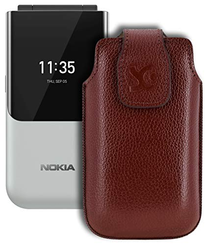 Suncase Original Tasche kompatibel mit Nokia 2720 Flip Hülle Leder Etui Handytasche Ledertasche Schutzhülle Hülle in vollnarbiges-braun
