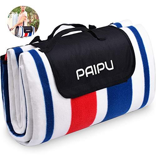 PAIPU Picknickdecke 200 X 200CM XXL Fleece WÄrmeisoliert Wasserdicht, Sandfreie Stranddecke mit Tragegriff, Campingdecke für 6-8 Personen