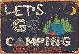 Let'S Go Camping Under The Stars Hierro Vintage Look 20 x 30 cm Decoración Cartel de Pintura para Hogar Cocina Baño Granja Jardín Garaje Divertida Decoración de Pared