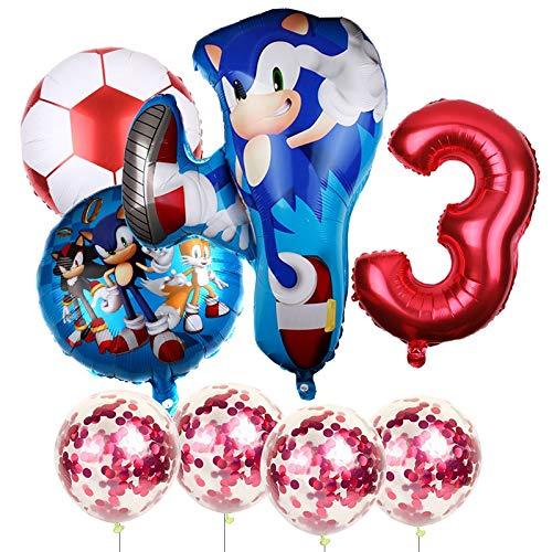 JSJJAET Globos de cumpleaños Los Aficionados 1Ajuste el Erizo Sónico Globos superhéroe Partido de fútbol Número Foil Fiesta de cumpleaños Globo de la decoración (Color : 3)