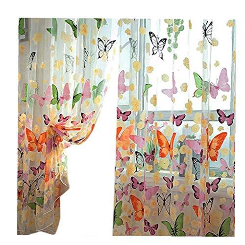 No brand Inizio Sheer Tende Farfalla Stampa Decorativi Sheer Tende a Casa Eleganti Finestre con Voile Filati Garza Tende per Soggiorno