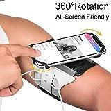 Brassard multifonctionnel de Sport l'Anti-Sueur pour Telephone au Bras pour iPhone X / 8 Plus/ 7 Plus/ 6 / 6s /,Samsung Galaxy S8 / S7 / S6 HUAWEI,180°Rotatif avec la Sangle adjustable (Argenté)