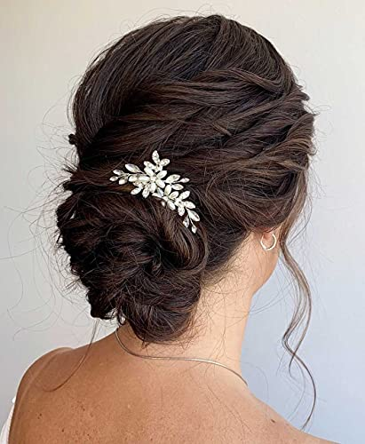 Unicra Braut Hochzeit Haarnadeln Silber Blume Haarschmuck Kristall Braut Kopfschmuck Haarspangen für Frauen und Mädchen (2 Stück)