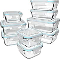 Glass Food Storage Containers with Lids - Glass Containers with Lids for Food - Reusable Bento Box Glass Lunch...