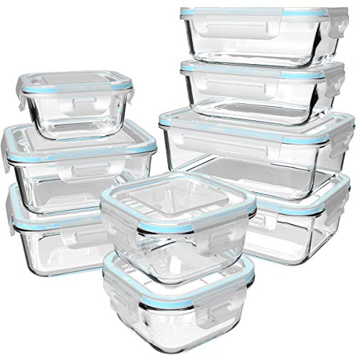 18 Piece Glass Food Storage Containers with Lids, Glass Meal Prep Containers, Glass Containers for Food Storage with Lids, BPA Free & Leak Proof (9 lids & 9 Containers)