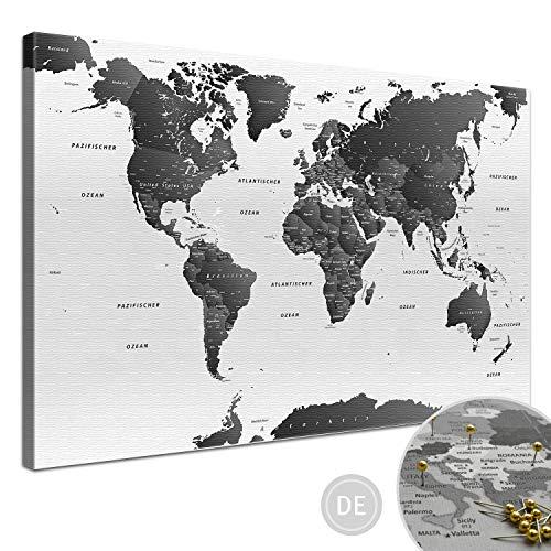 """LANA KK - Weltkarte Leinwandbild mit Korkrückwand zum pinnen der Reiseziele – """"Weltkarte SW Hell"""" - deutsch - Kunstdruck-Pinnwand Globus in weiß, in 150x100cm"""