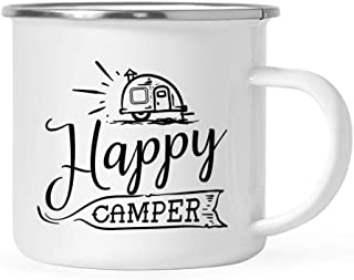 Andaz Press 11oz. Stainless Steel Camping Coffee Mug Gift, Happy Camper, 1-Pack, Birthday Christmas Outdoors Metal Enamel Campfire Cup