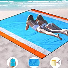 【SAND FREE BEACH BLANKET】-Made from quick drying, breathable ripstop nylon ,our sand free beach mat that is heat resistant, water repellent and ultra-soft! 【BEST SIZE OF SAND FREE BEACH MAT】82''×79'' sized beach / picnic blanket will comfortably fit ...