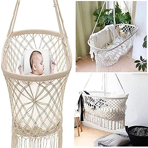 ZHIRCEKE Cradle Hammock Comfort Baby Sleep Hamgock Cuna Baby Cradle Hammock Baby Swing (Beige White)