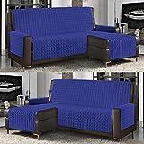 Banzaii Funda de Sofá Cubre Chaise Longue Acolchada Lisa 3 Plazas (240 cm) con Chaise Longue Izquierda/Derecha Azul Claro