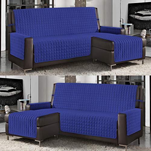 Banzaii Funda de Sofá Cubre Chaise Longue Acolchada Lisa 4 Plazas (290 cm) con Chaise Longue Izquierda/Derecha Azul Claro