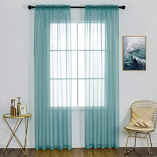 Teal Blue Curtains for Girls Bedroom 84 Inches Long Voile Panels Drapes Rod Pocket Curtain Sheers for Living Room Transparent Light Filtering Window Treatments 2 Panels 52 x 84 Inch Length Aqua Blue