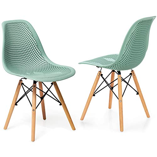Giantex Set of 2 Modern Dining Chairs, Shell PP Lounge Side Chairs w/Mesh Design, Beech Wood Legs, Tulip Leisure Chairs, DSW Dining Chairs for Kitchen, Dining Room, Living Room, Outdoor, Green