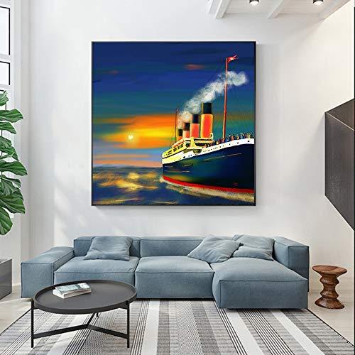 KWzEQ Leinwanddrucke Ozean Segeln Wanddekoration für Wohnzimmer Wandkunst Bild nach Hause Poster Kunstwerk40x40cmRahmenlose Malerei