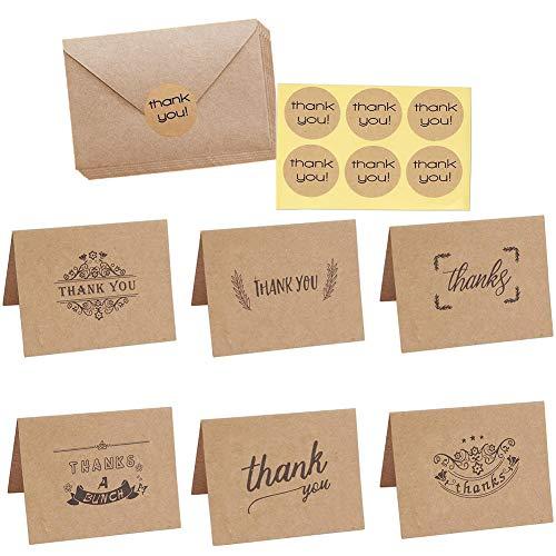Dankeskarten, 108 Stücke Brown Kraftpapier Dankeskarten,Vintage Niedlichen Geschenkkarten mit Umschläge und Aufkleber für Hochzeit, Schulabschluss, Baby-Dusche, Jahrestag
