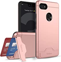 Teelevo Wallet Case for Google Pixel 3 XL, Dual Layer Case with Card Slot Holder and Kickstand for Google Pixel 3 XL (2018) - Rose Gold