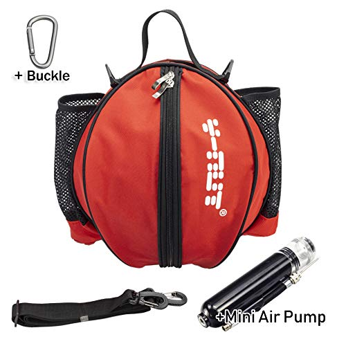 Y-Nut Bolsa de Baloncesto con Bomba de Aire Manual de tamaño de Bolsillo, Mochila de Baloncesto para Deportes al Aire Libre, Ideal para Llevar Baloncesto, Pelota de fútbol, Voleibol, Color Rojo