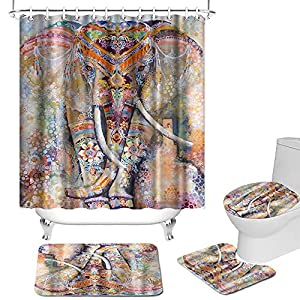 4 Pcs Boho Elephant Shower Curtain Sets with Non-Slip Rug Toilet Lid Cover and Bath Mat Colorful Bohemian Wild Animal Bath Curtain Fabric for Bathroom Decor