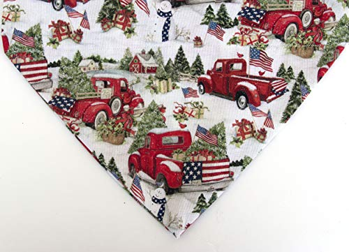 candy canes and holly snowflakes Christmas Dog black bandana over the collar slip on scarf dogs with Santa hats