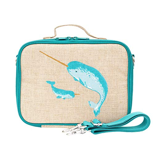 SoYoung Lunch Bag - Raw Linen, Eco-Friendly, Retro-Inspired and Easy to Clean (Teal Narwhal)