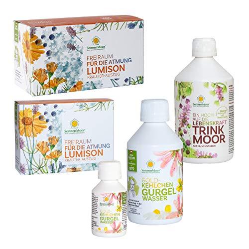 SonnenMoor Vorsorgepaket aus Trinkmoor + flüssiger Kräuterauszug LUMISON für Lunge und Atemwege und dem Gurgelwasser für die Pflege von Hals und Rachen 500 ml + 100 ml GRATIS