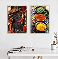 北欧の家の装飾ポスター額入り穀物スパイススプーンキッチンポスター印刷可能なキャンバス壁アート食品画像40x60cmx2ピース内枠