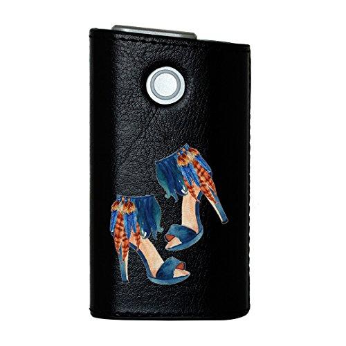 glo グロー グロウ 専用 レザーケース レザーカバー タバコ ケース カバー 合皮 ハードケース カバー 収納 デザイン 革 皮 BLACK ブラック ヒール 靴 羽 013585