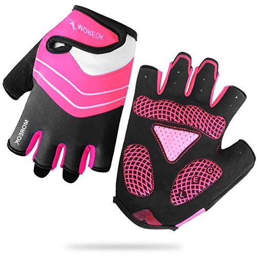 HNOOM Fahrradhandschuhe, MTB Handschuhe Halbfinger, Rennrad Handschuhe rutschfeste, Atmungsaktive Training Handschuhe für Männer & Frauen (Pink, L)